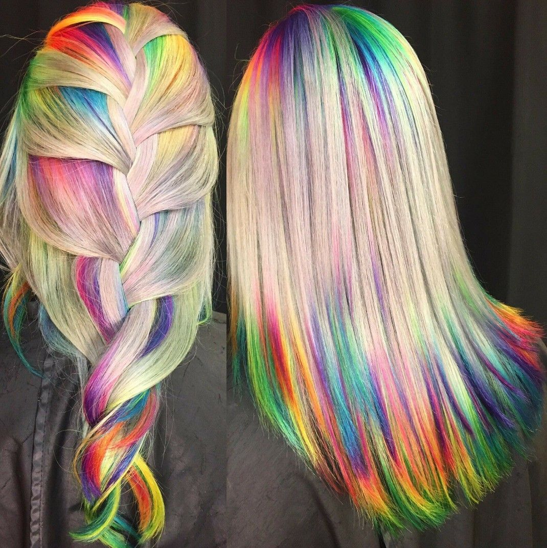 Rainbow Roots And Tips By Ursula Goff Rainbow Hair Color Hair Styles Pretty Hair Color