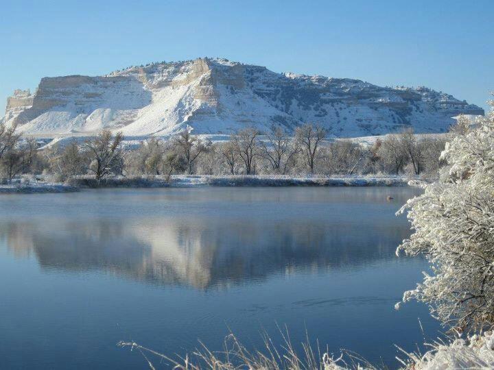 Scottsbluff And North Platte RIver In Nebraska Stock Image