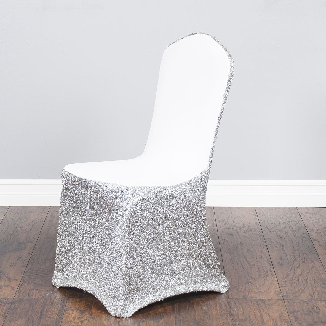 Glitter Stretch Chair Cover White / Silver Dîner en