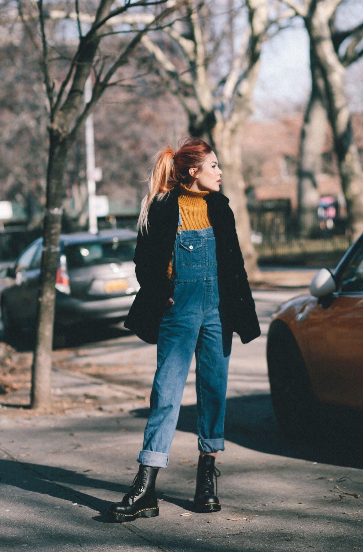 Sweater Vintage Overalls Vintage Shoes Dr Martens Coat Vintage By Lua P Drmartensboots Overalls Vintage Overalls Outfit Fashion