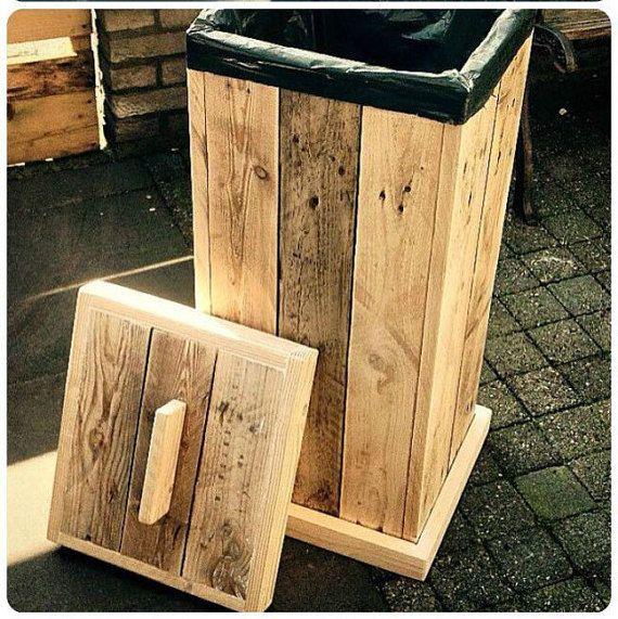 Rustic Rubbish Bin Indoor Or Outdoor Door By Uniquehandcraftshop Wooden Pallet Projects Pallet Diy Pallet Kitchen