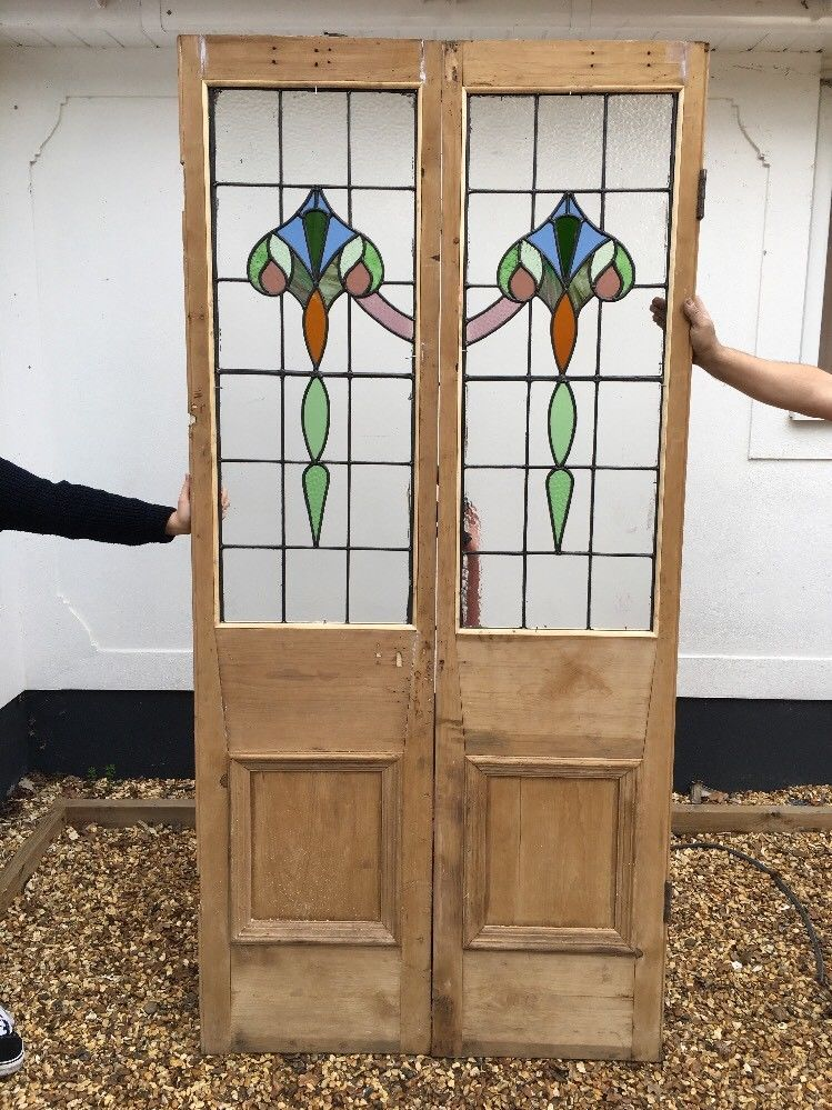 2 Victorian Stained Glass Doors Antique Period Reclaimed Old French