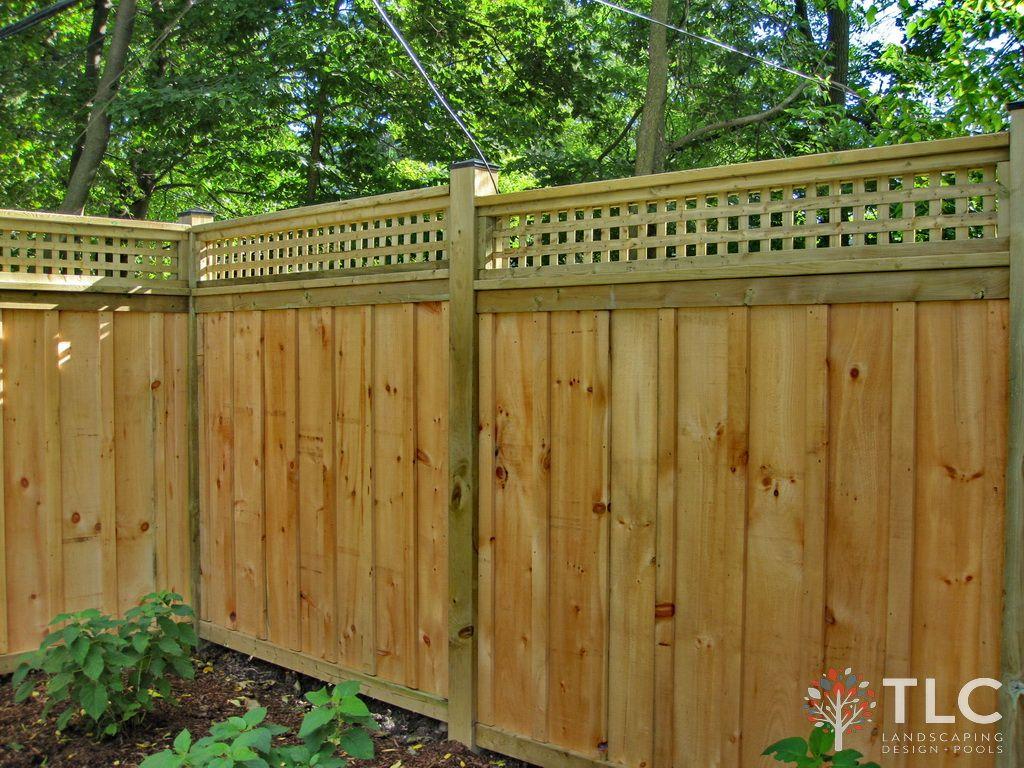 Custom Rough Pine Board & Batten Fence with Square Lattice & 6\