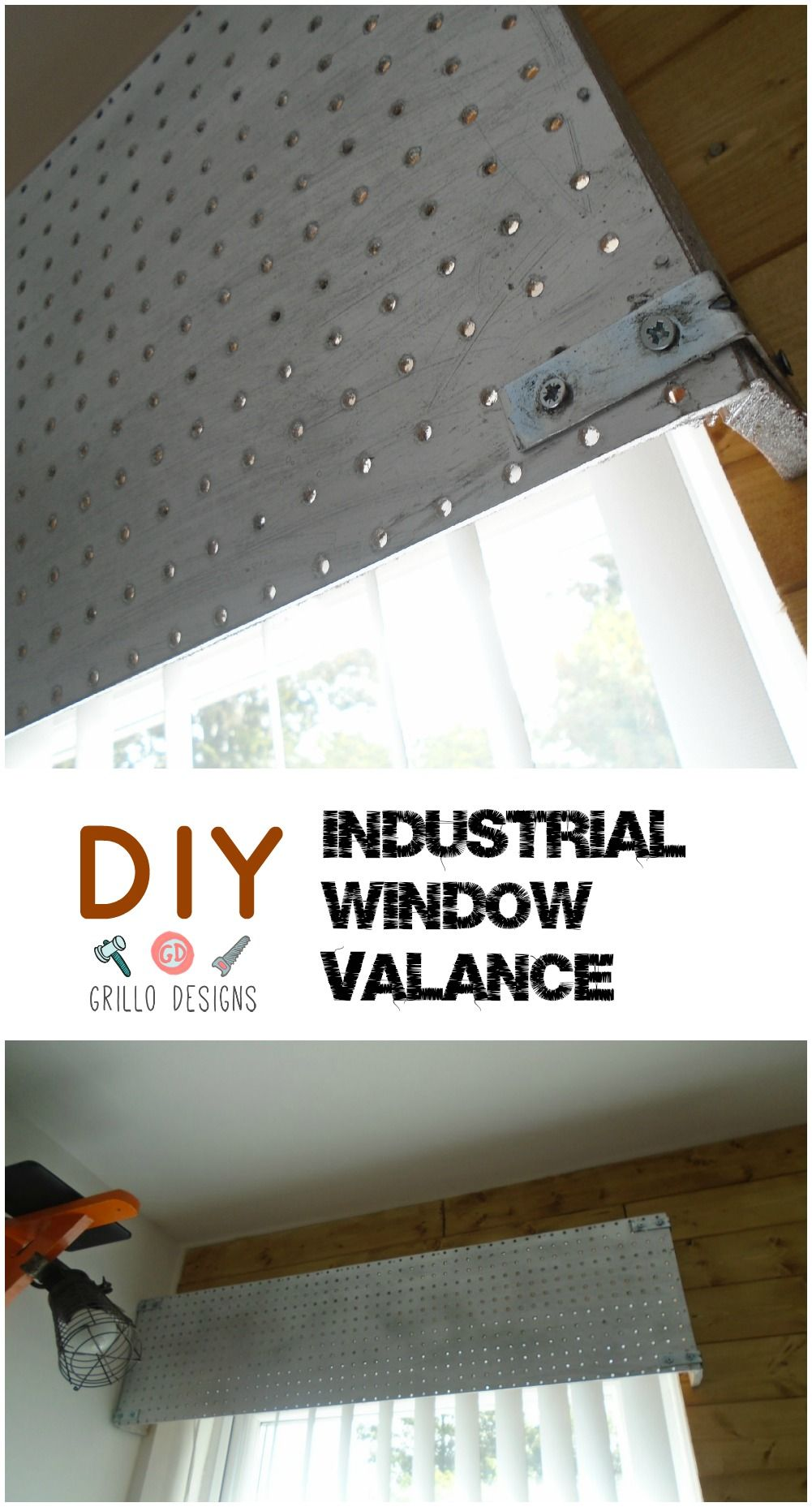 Decorating theme bedrooms maries manor window treatments curtains - See How I Created A Metallic Effect Window Valance For My Sons Industrial Themed Room
