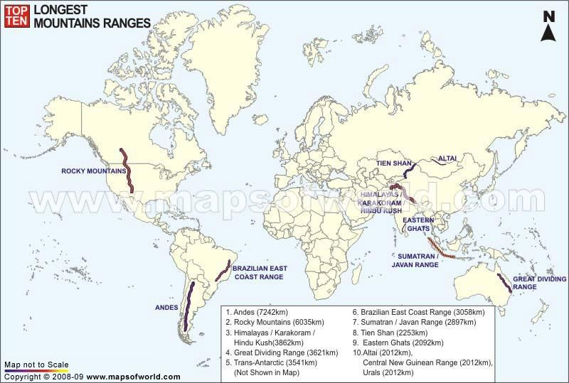 Top Ten Longest Mountain Ranges in the World Maps Pinterest