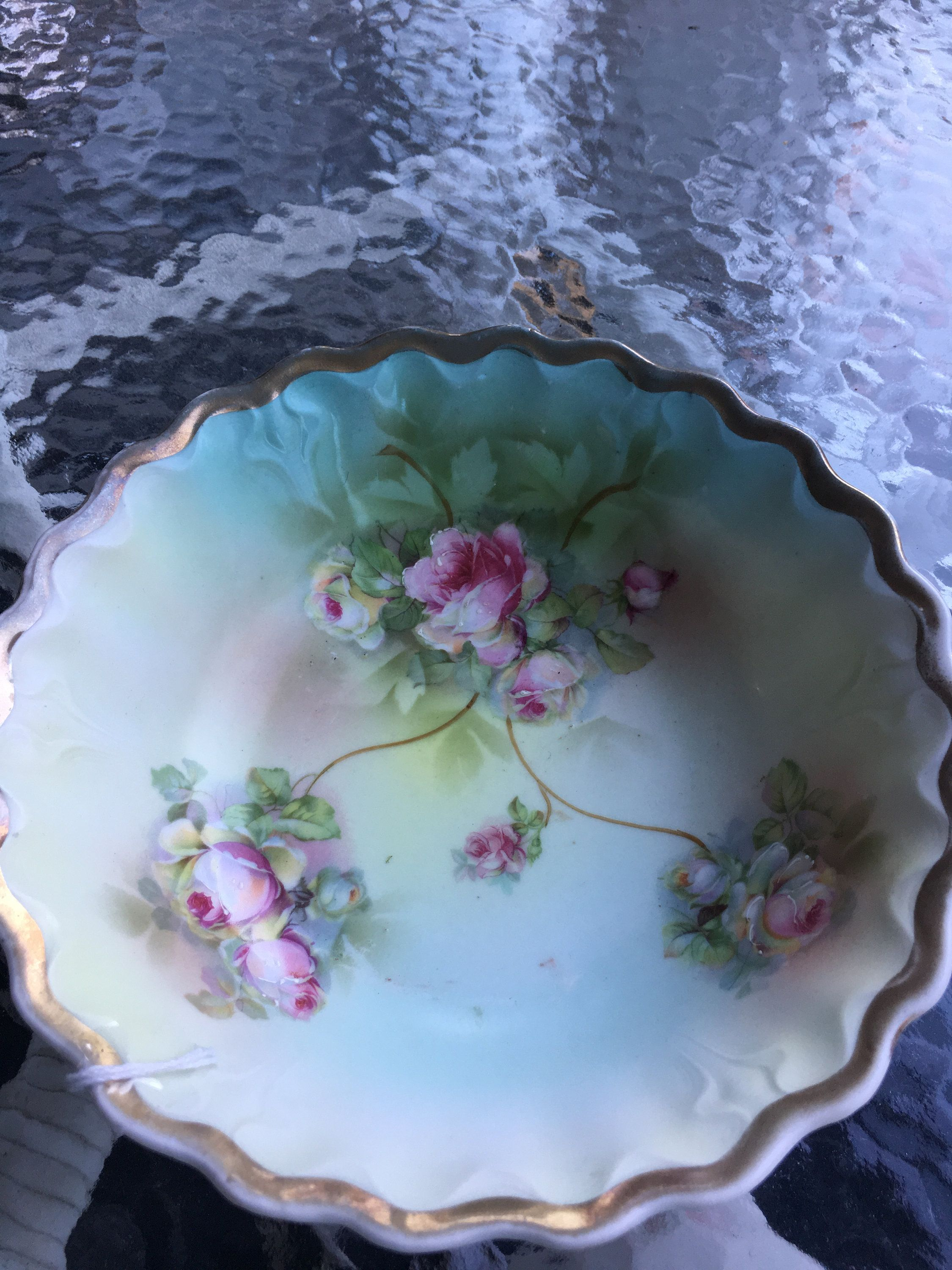 Antique Bavarian China Porcelain Bowl with Hand Painted Roses and Gold Accents