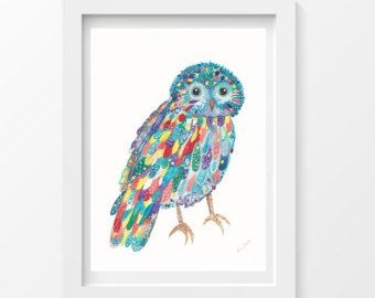 Happy Owl Colorful Owl Watercolor Painting Art Print Wall Art  Watercolor Painting Print 5x7