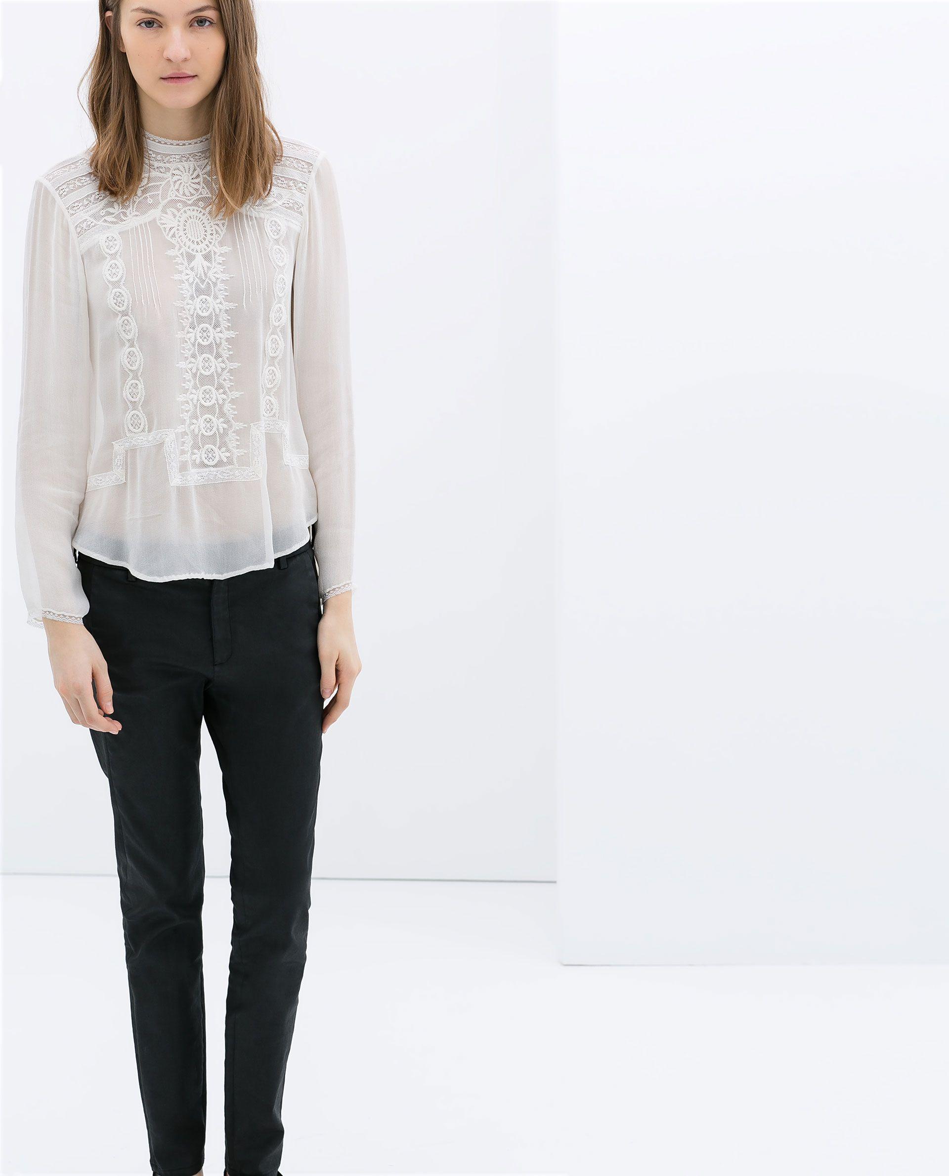 nuevo producto estilo limitado diseños atractivos BLUSA CUELLO ALTO BORDADA - Blusas - Camisas - MUJER | ZARA ...