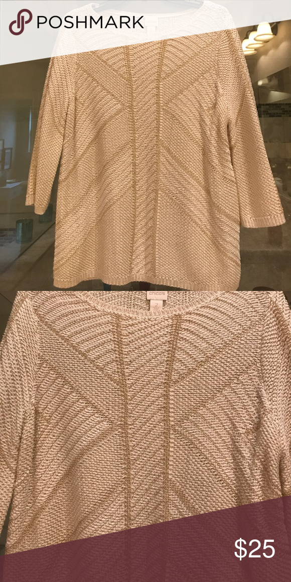 BNWOT Chico's ivory and gold metallic sweater BNWOT!! Chico's size 2. Non smoker! Get ready for the holidays with this gorgeous ivory and gold sweater! Chico's Sweaters Crew & Scoop Necks