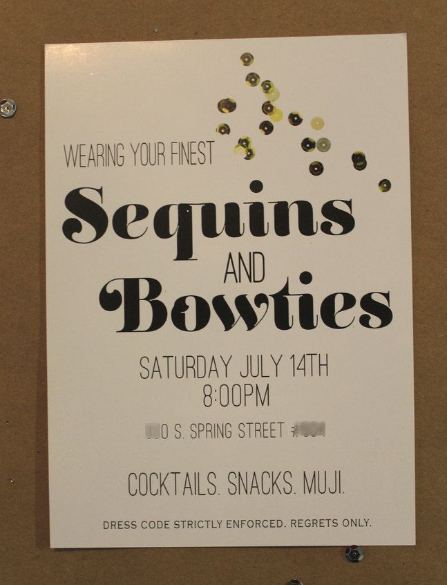 Sequins & Bow ties themed Printable Party Invitation Gold/White ...