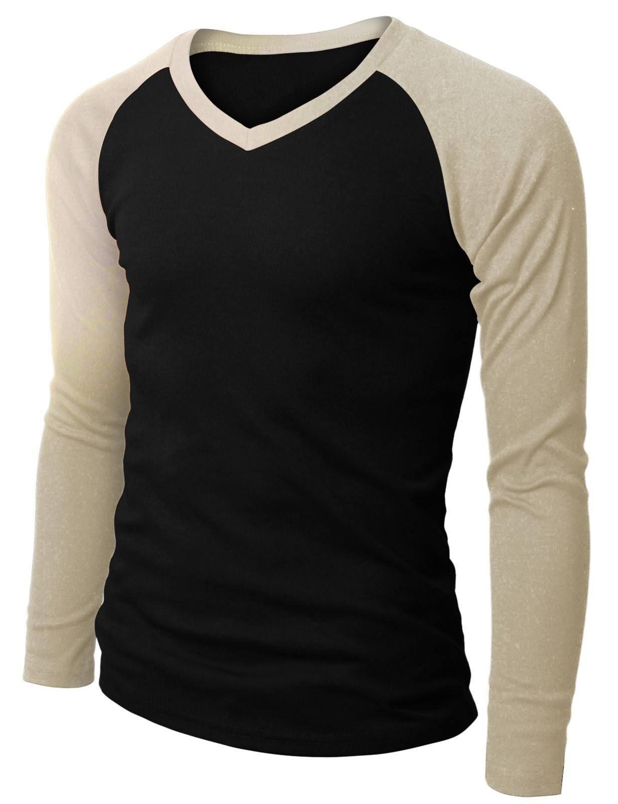 Polera Camiseta Negra Manga Larga Beige V