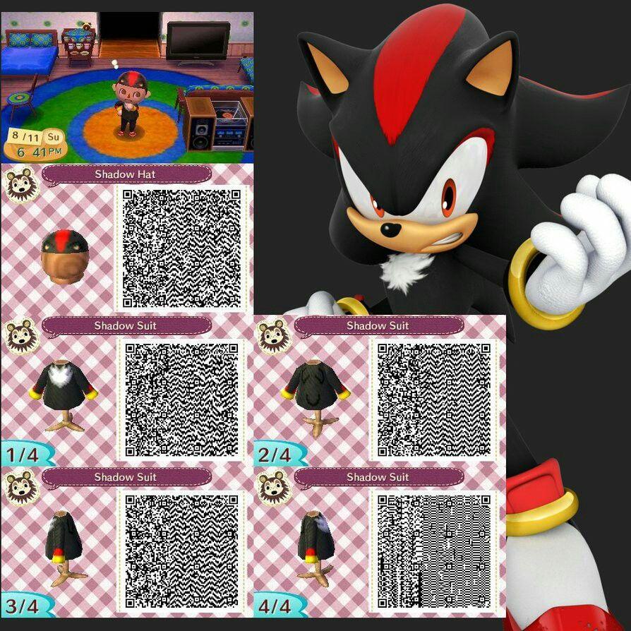 Shadow The Hedgehog Qr Code For Animal Crossing New Leaf Animal Crossing Animal Crossing Qr Qr Codes Animal Crossing