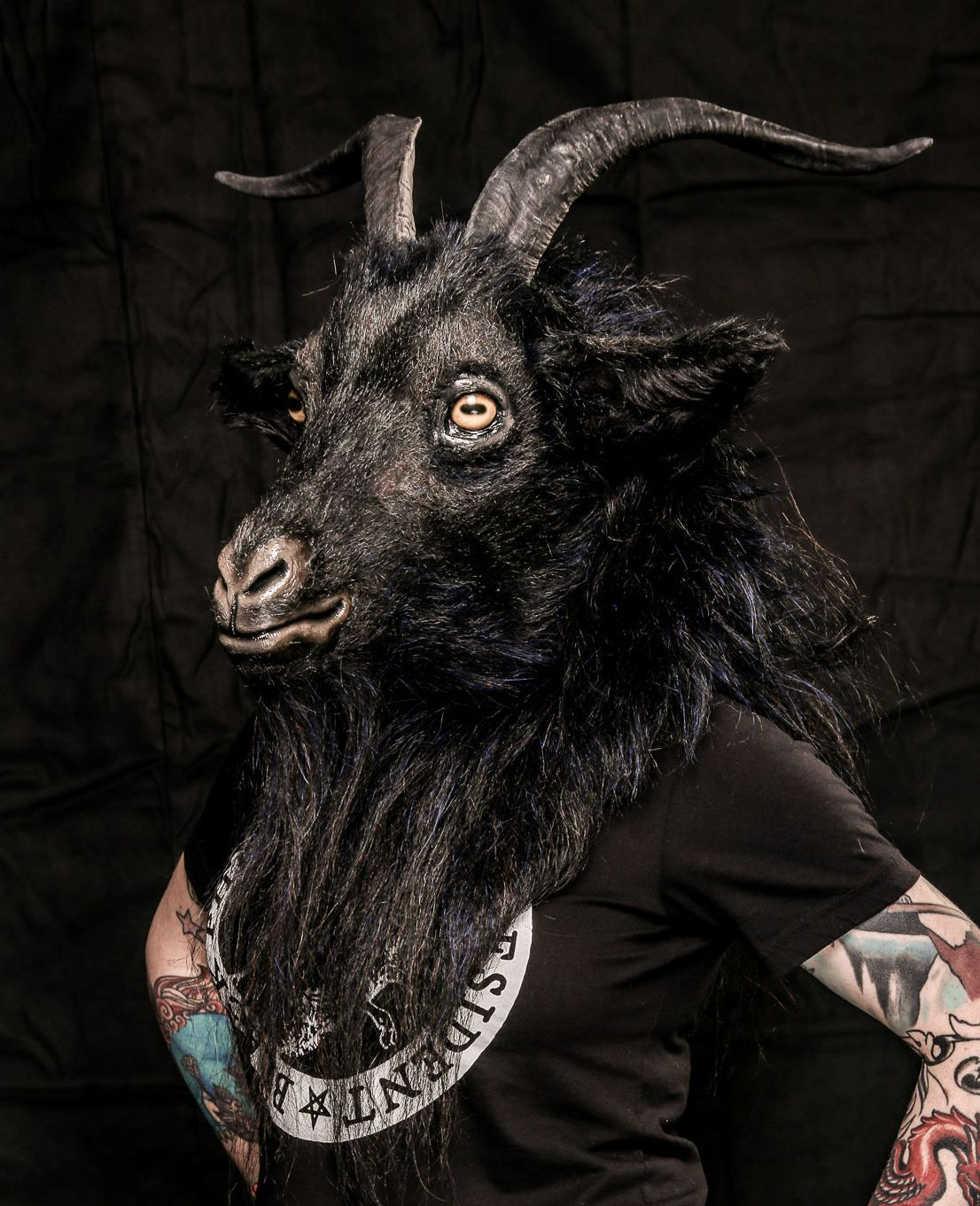 Goat mask devil demon leather horn costume cospaly larp ...