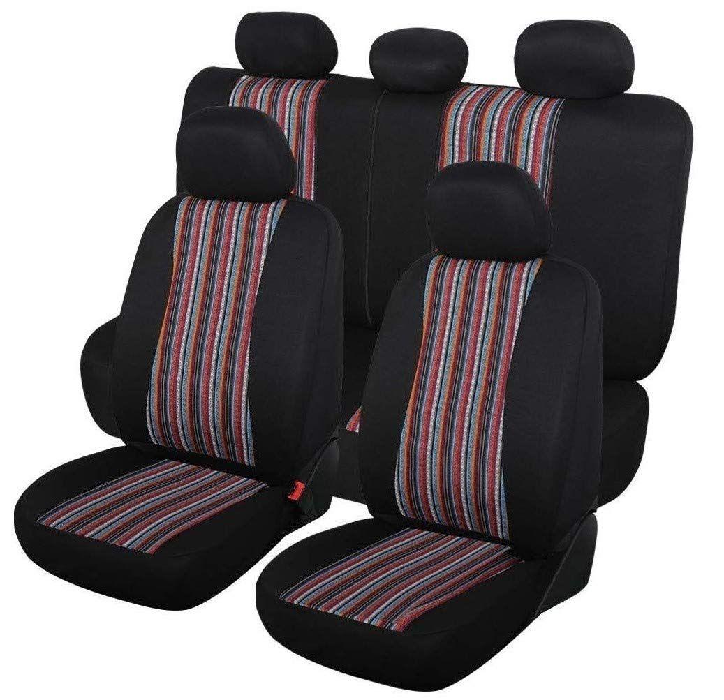 Autojoy baja seat covers 7pc stripe multicolor saddle