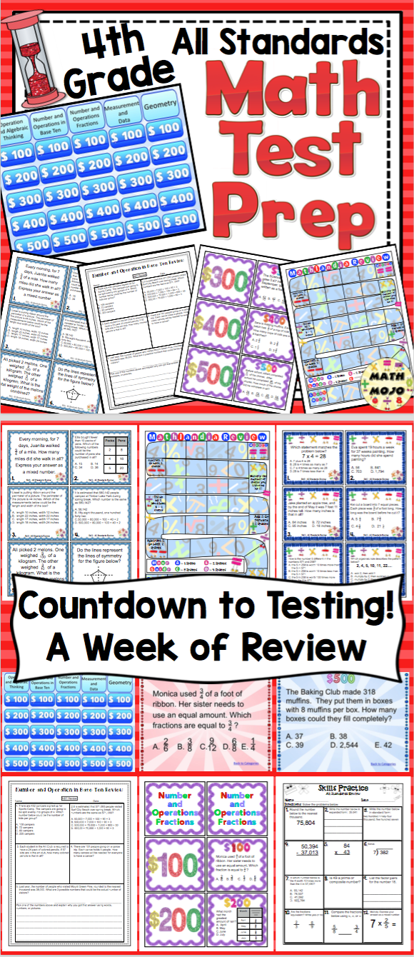4th Grade Math Test Prep: Countdown to Testing! All Standards Review ...
