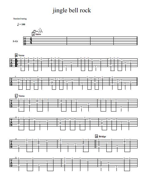 Jingle Bell Rock Free Tab Fingerpicking Guitar Solo Song One Guitar Guitar Solo