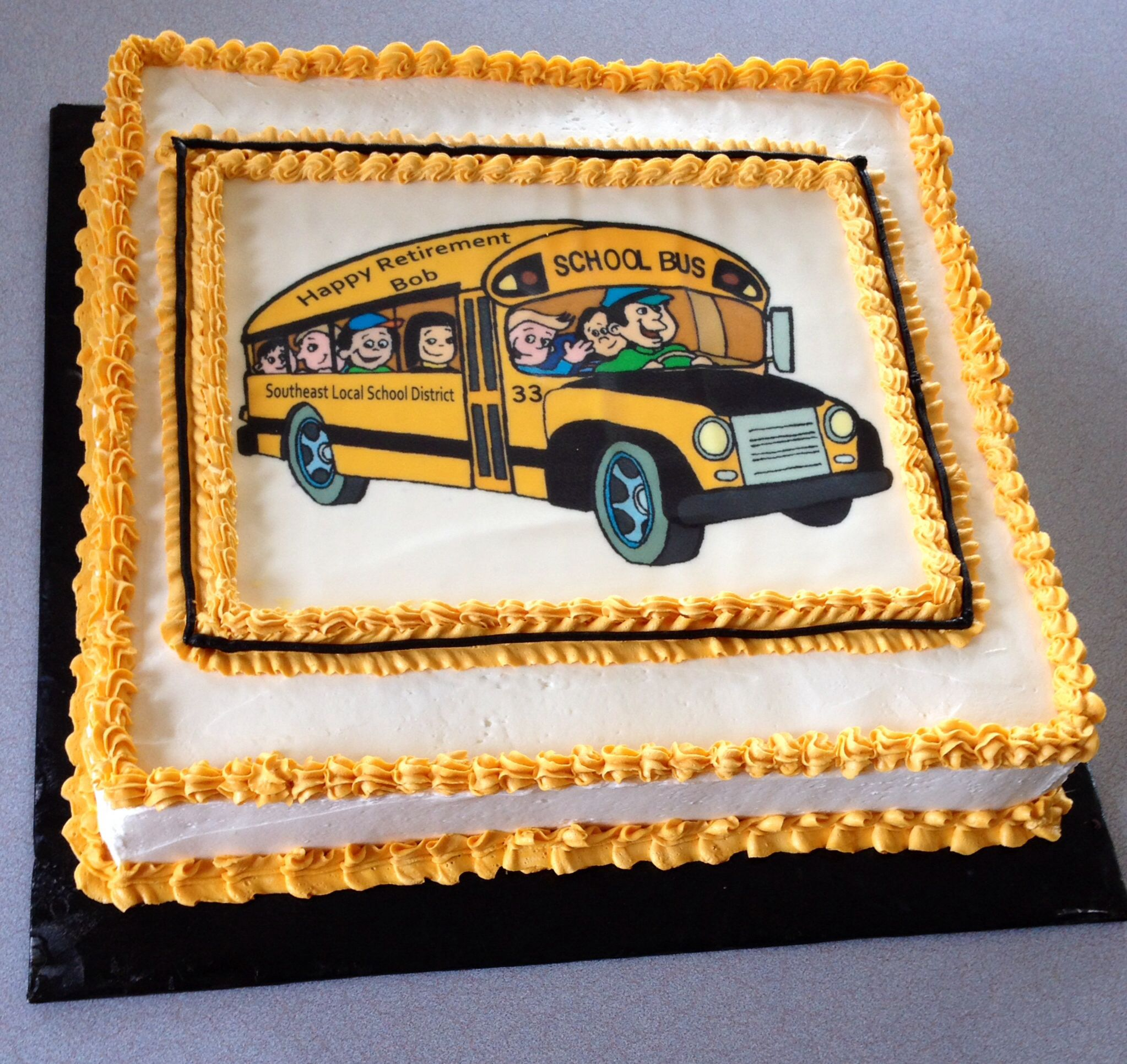 Surprising School Bus Driver Retirement With Images School Bus Cake Personalised Birthday Cards Cominlily Jamesorg