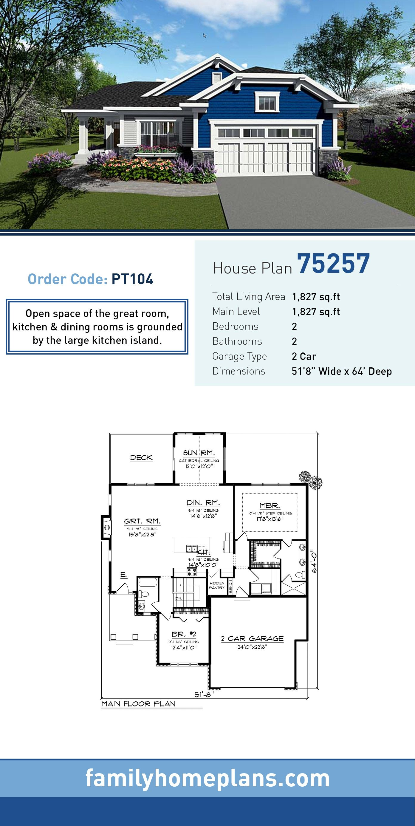 Cottage Country Craftsman House Plan 75257 | Large kitchen island ...
