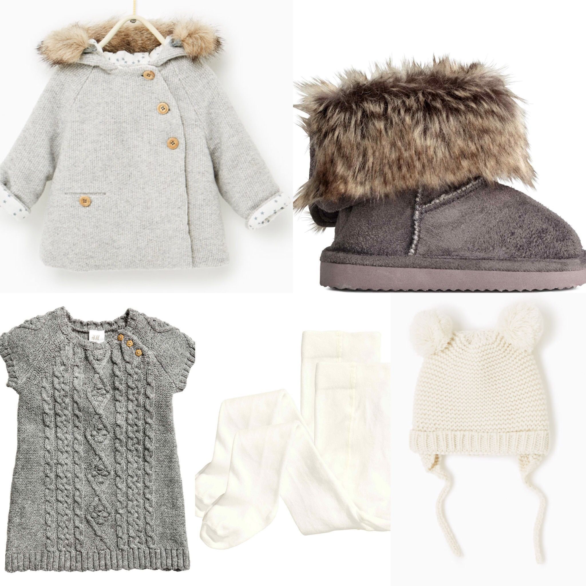 HM Zara 2016 fall baby girl outfit idea HM Grey knitted dress ugg