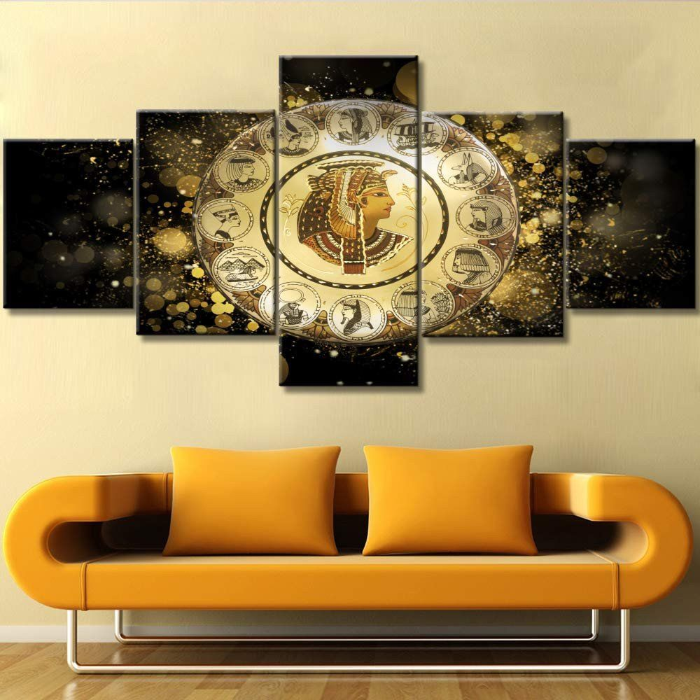 Wall Decor Behind Couch New Multi Panel Canvas Wall Art Ancient Egyptain Artwork Egypt Cleopatra Paintings In 2020 Gold Living Room Decor Home Decor House Decor Modern