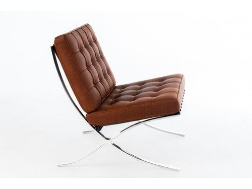 Barcelona Chair Balmoral Cinnamon Leather Mies Lounge Chair Ebay Living Room Leather Contemporary Chairs Chair