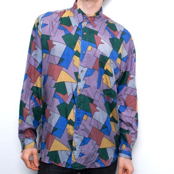 68a29debb60 FRESH PRINCE 90s art hip hop SILK button up shirt by CairoVintage ...