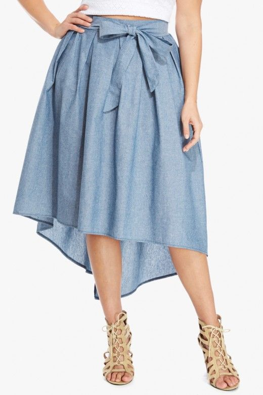 afcf42b3fa0 ... tops   accessories. Plus Size Chambray Bow Midi Skirt  http   fave.co 1PcGYD6 Plus