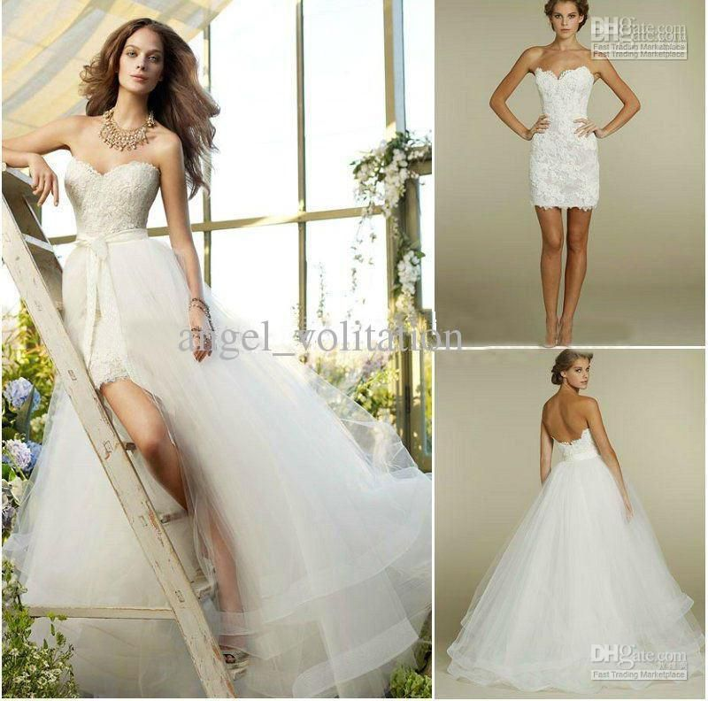 Sweetheart Two Piece Design Lace Short Mini Bridal Gowns Detachable Train Tulle Wedding Dresses Love The Idea