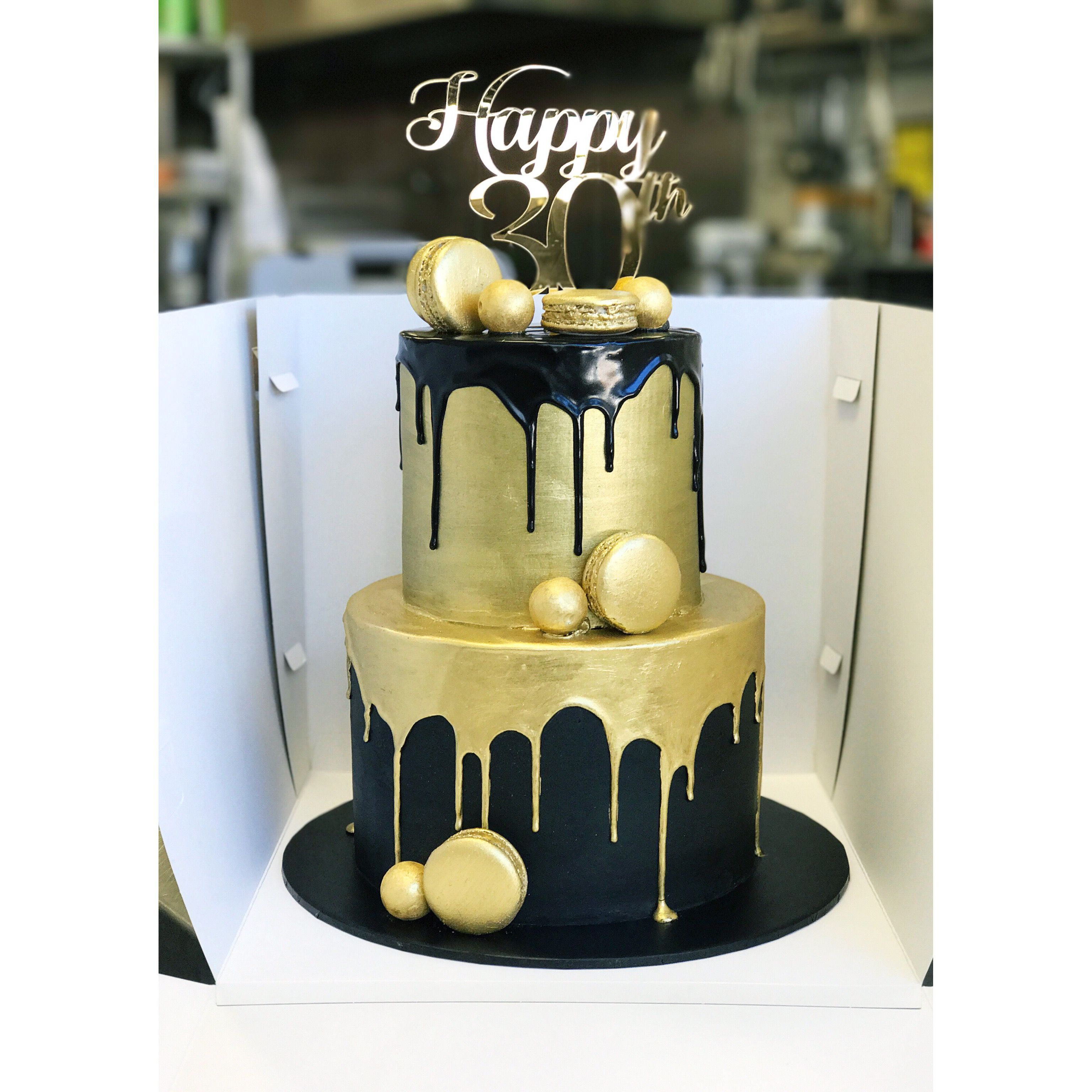 Black And Gold Two Tier Cake Birthday Cake For Him Tiered Cakes