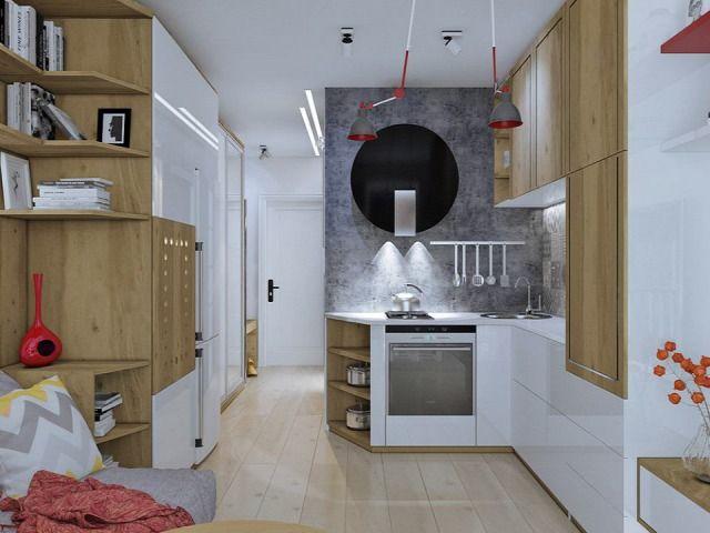 konyha nappali kicsi alapterület előtér 3D terv erkély tárolás ...