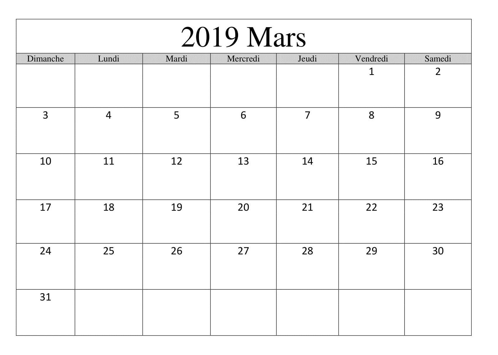 Calendrier 2019 Excel Vacances Scolaires.Calendrier Mars 2019 Excel Pour Vacances Scolaires March