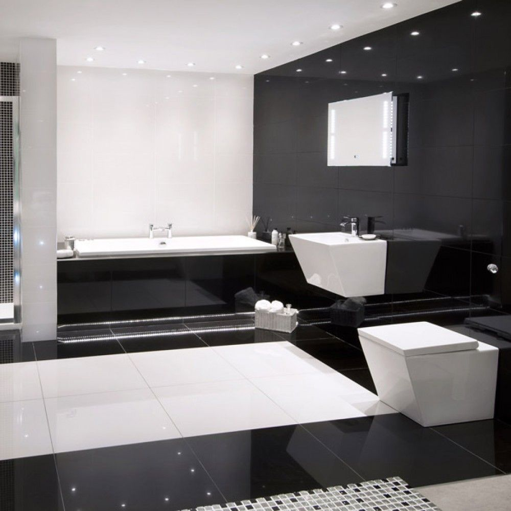 60cm x 30cm Absolute Black Polished Wall/Floor Tile (Box of 8 ...