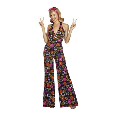 1da82285248f Dreamgirl Women s Groovy Baby! 60 s Themed Costume Jumpsuit in 2019 ...