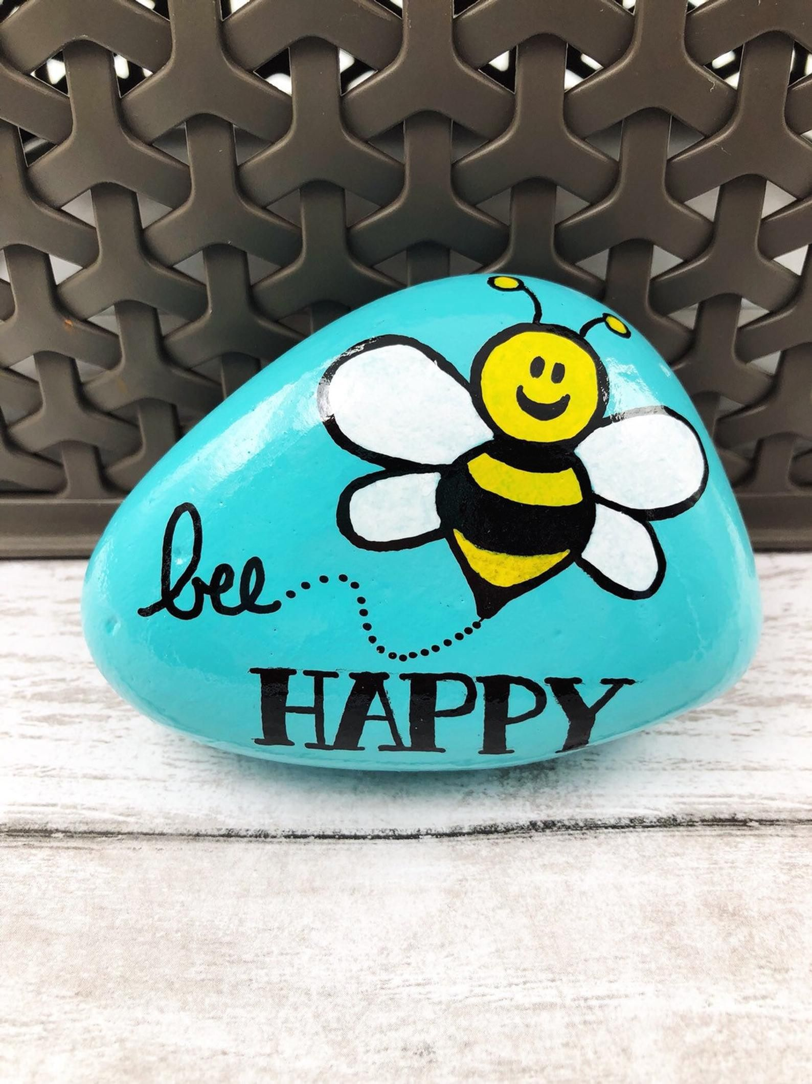 Bee Happy Painted Rock, Be Happy Stone, Encouragement Rock, Affirmation Stone, Hand Painted Rock, Christmas gift, stocking stuffer