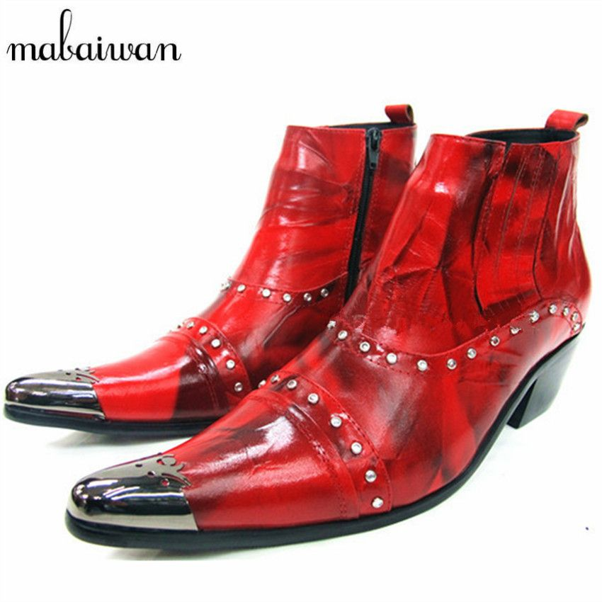 94428feee53c Fashion Red Genuine Leather Men Ankle Boots Metallic Pointed Toe Mens Dress Shoes  High Top Botas
