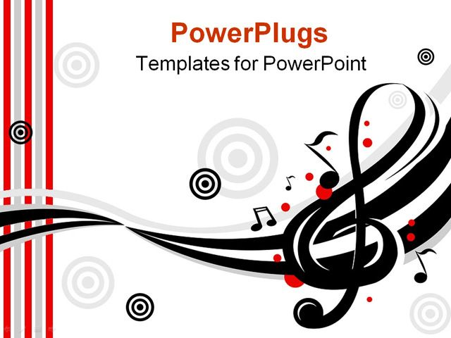 PowerPoint Template Displaying Music Instruments Treble Clef Target - treble clef template