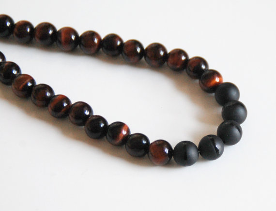 Mens Red Tiger Eye And Black Onyx Necklace Mens Necklace