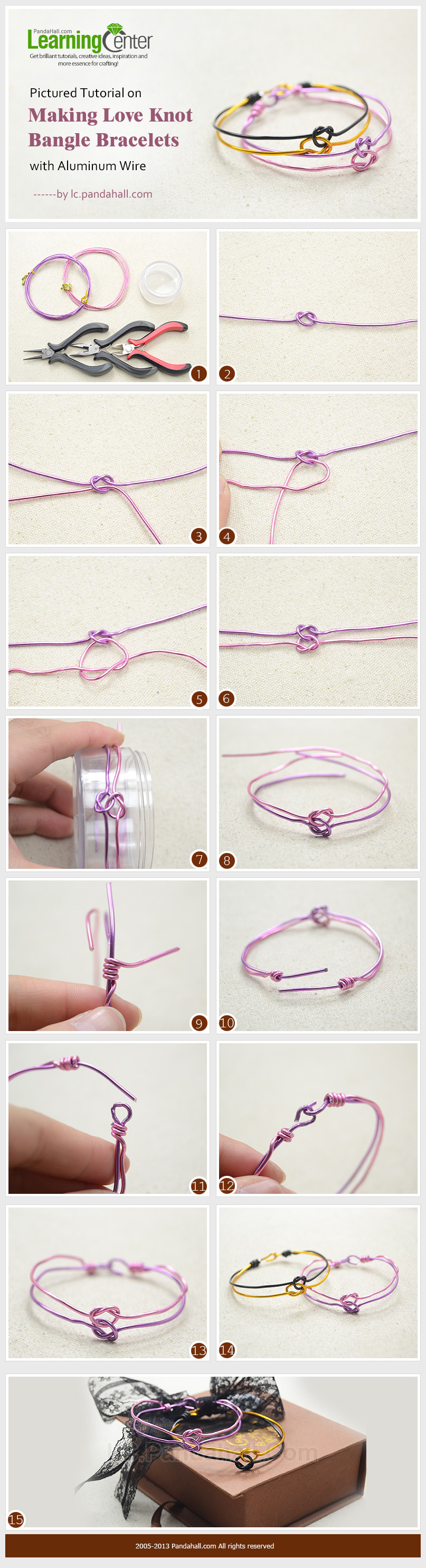 Pictured Tutorial on Making Love Knot Bangle Bracelets with Aluminum ...