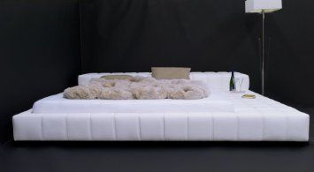 Design Bett Textil Lederbett Ehebett Doppelbett Weiss 180 X 200 Cm