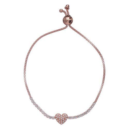 51d29e0c14f1 Pulsera con corazoncito AMEN plata 925 rosada y zircones  pulsera  pulseras   bracelet
