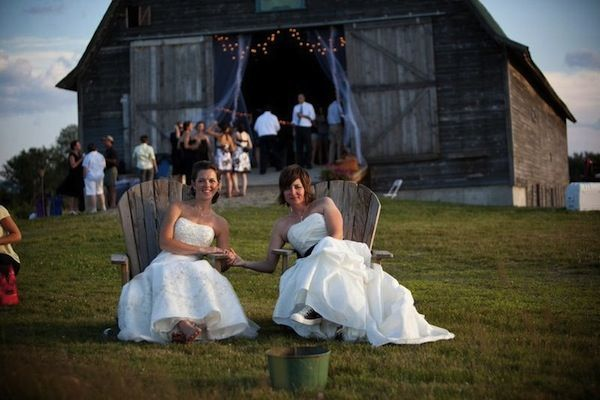 Brides Outside The Barn For Their Vermont Wedding