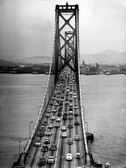 Traffic On The San Francisco Oakland Bay Bridge Photographic Print Carl Mydans Allposters Com Bay Bridge Francisco National Parks