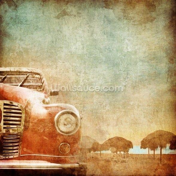 American Vintage Car Wallpaper Wallsauce Uk Retro Cars Old Cars Red Car