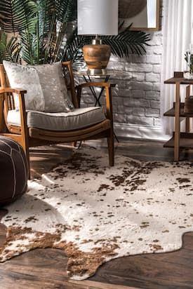 Rugs Usa Brown Vaquero Macchiato Faux Cowhide Rug Animal Prints Shaped 3 10 X 5 Cowhide Rug Living Room Hide Rug Living Room Cowhide Rug Bedroom