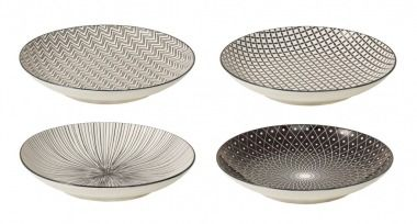 4er Set Teller China, schwarz/weiß, 22 cm - Mit diesen Tellern im 4er Set können Sie Ihren Gästen leckere Kleinigkeiten servieren.Material: PorzellanMarke: NANU-NANA