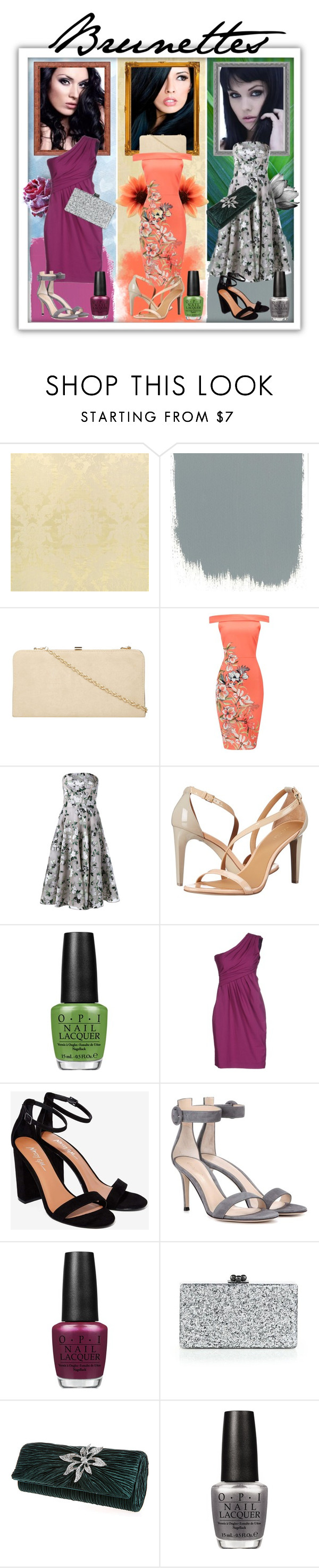 """""""Three looks for brunettes ( Три образа для брюнеток)"""" by kseniz13 ❤ liked on Polyvore featuring Dorothy Perkins, Alexander McQueen, Calvin Klein, OPI, Moschino Cheap & Chic, Gianvito Rossi and Edie Parker"""