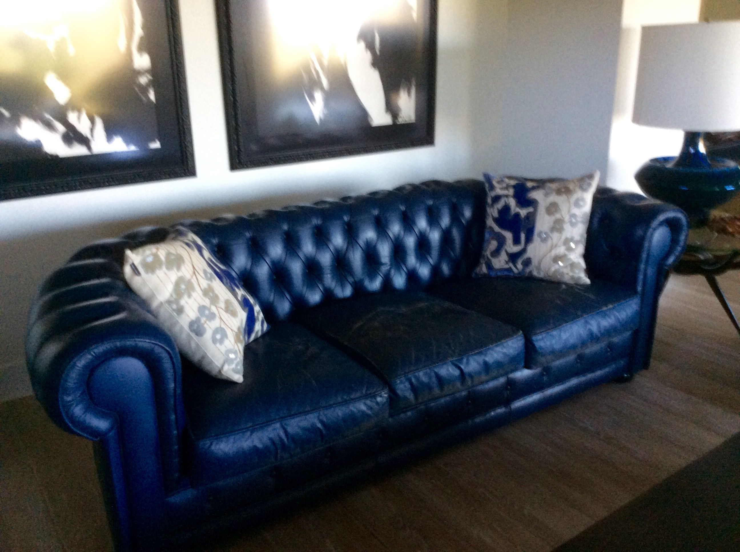 Strange 60S Blue Leather Chesterfield Sofa From Paris Woodrow Gmtry Best Dining Table And Chair Ideas Images Gmtryco