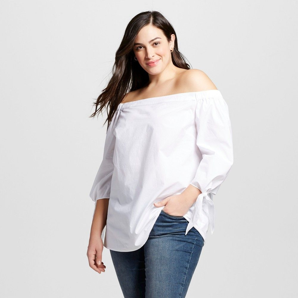 c1cd77aadc7 Women s Plus Size Bardot Top Fresh White 1X - Ava   Viv