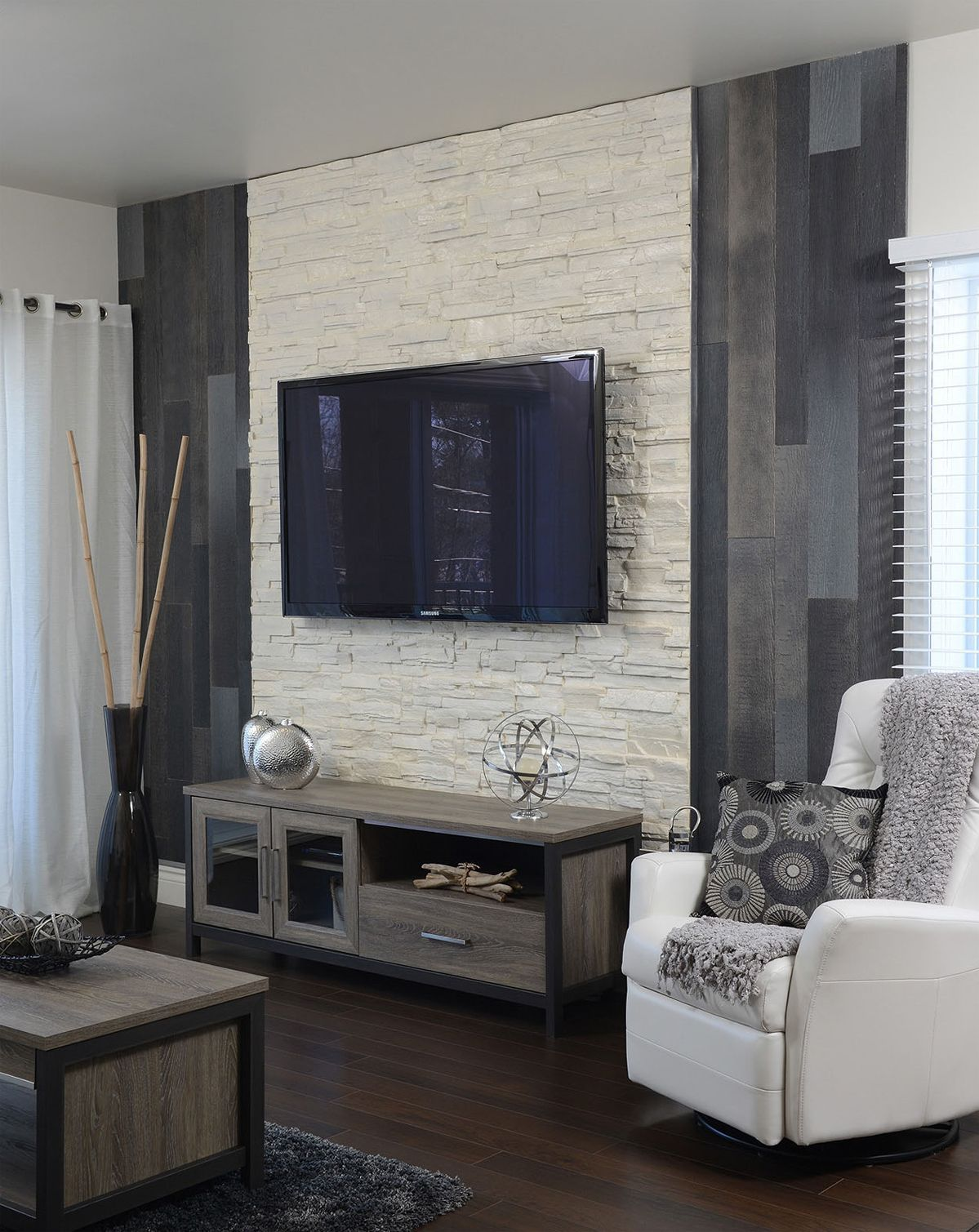 Living Room Wall: Gray Wood + Cream-colored Stone = Delicious.
