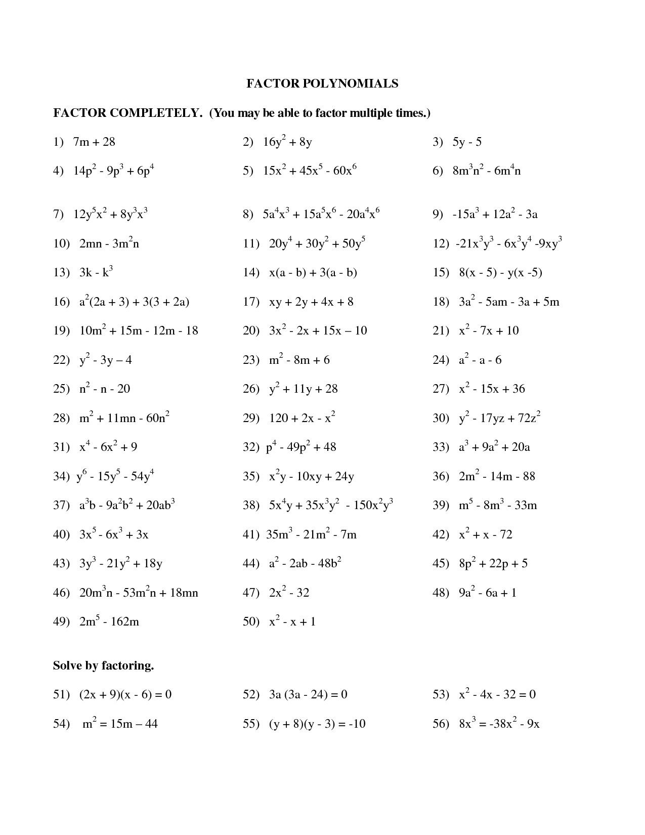 New Factoring Polynomials Worksheet